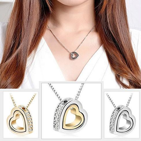 Hugging Hearts Pendant and Chain - VistaShops - 2