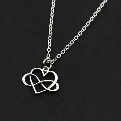 Admiration Heart And Infinity Rhodium Pendant With Chain - VistaShops - 1