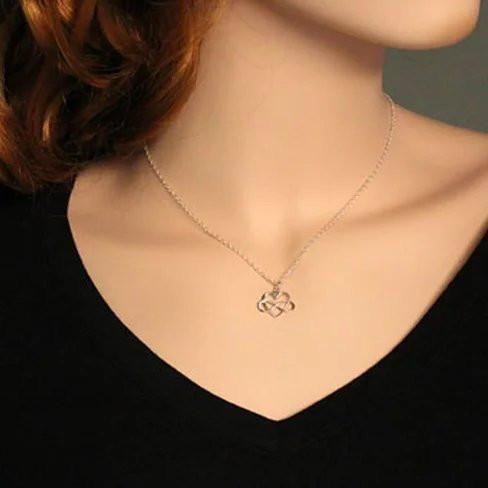 Admiration Heart And Infinity Rhodium Pendant With Chain - VistaShops - 2