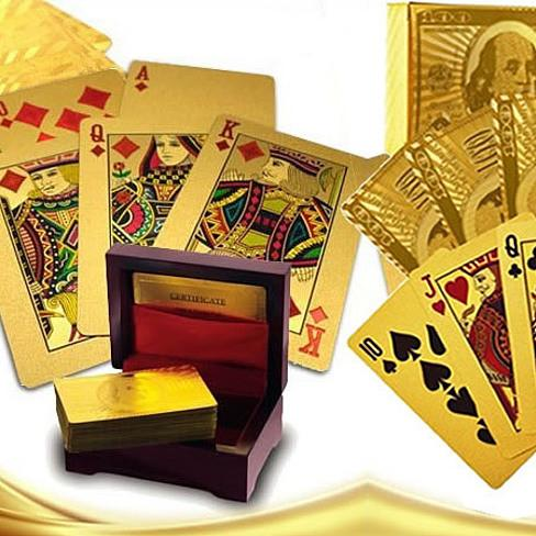Our WIN! WIN! 24 kt Gold or Silver Plated playing cards in a laminated Jewel box - VistaShops - 1