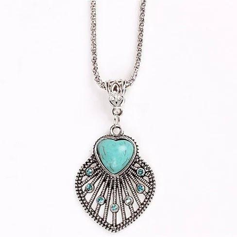Peacock Heart Turquoise Token Of Love Pendant And Antique silver style Necklace - VistaShops - 1