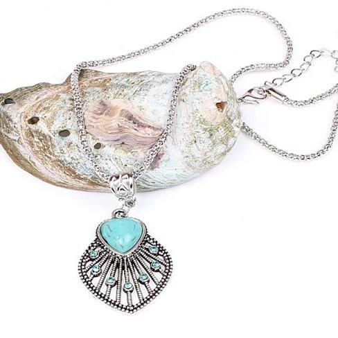 Peacock Heart Turquoise Token Of Love Pendant And Antique silver style Necklace - VistaShops - 3