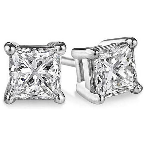 Princess Cut CZ in Sterling Silver Stud Earrings - VistaShops - 1