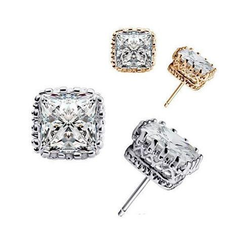 Royal Crown Earrings in Princess Cut Stones - VistaShops - 1