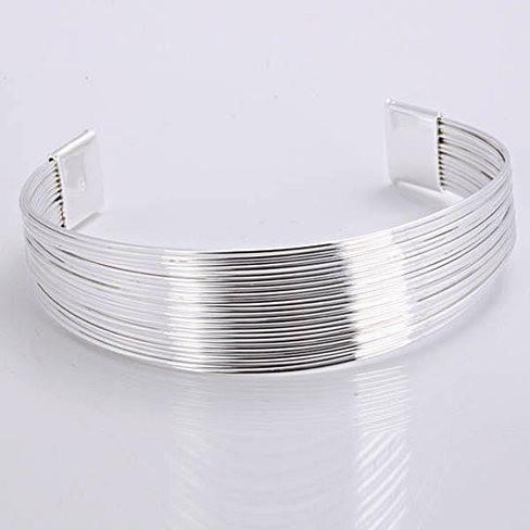 Simplicity Silver Cuff Italian Design Bracelet, Ring and Earrings set - VistaShops - 2