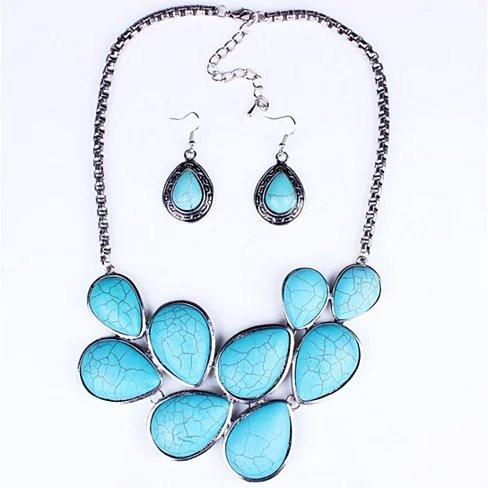 Turquoise Earth Necklace and Earrings Set - VistaShops - 1