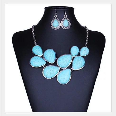 Turquoise Earth Necklace and Earrings Set - VistaShops - 2