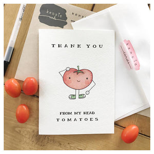 Thank You From My Head Toma-Toes Cards
