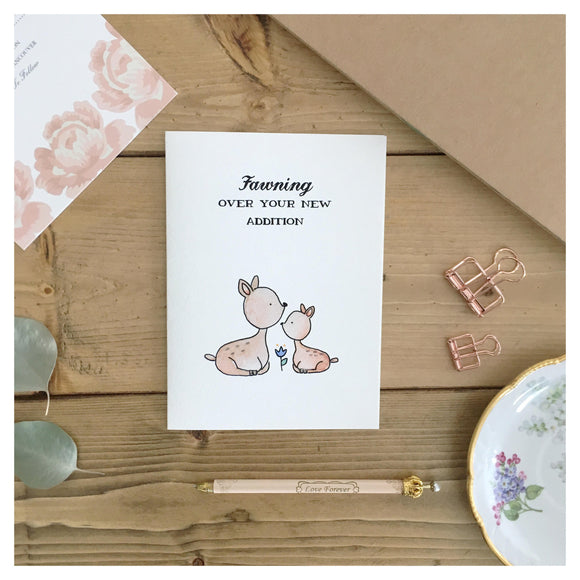 Fawning Over Your New Addition Baby Card
