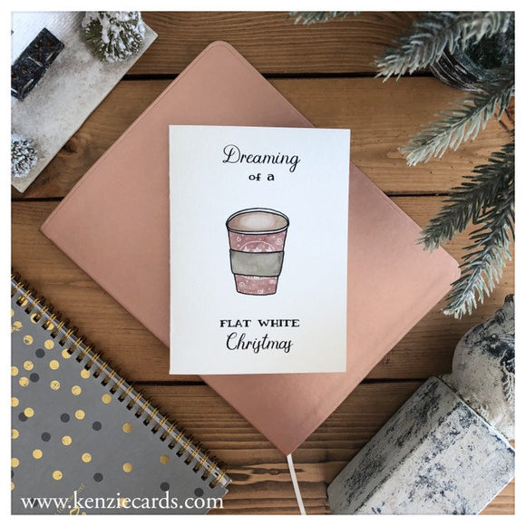 Dreaming Of A Flat White Christmas Card