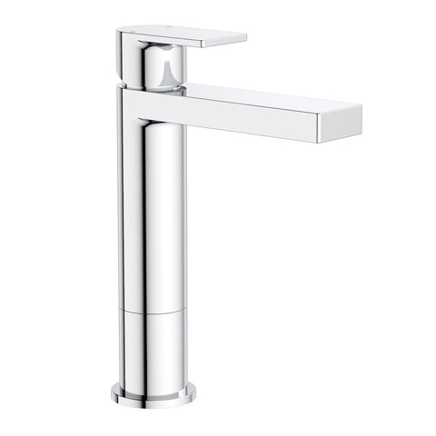 Round Square Tower Basin Mixer - Chrome