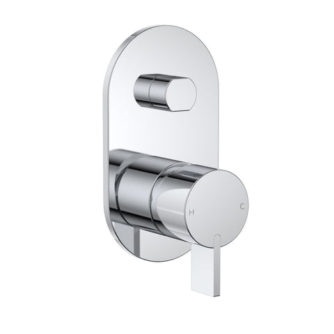 Round Blade Wall Mixer with Diverter - Chrome