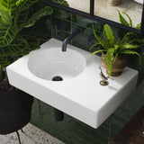Round Wall Basin Right Hand Shelf 600mm (No Tap Hole)