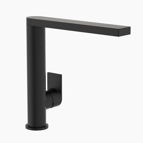 Round Square Sink Mixer - Matte Black