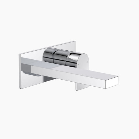 Round Square Wall Basin/Bath Mixer 220mm - Chrome