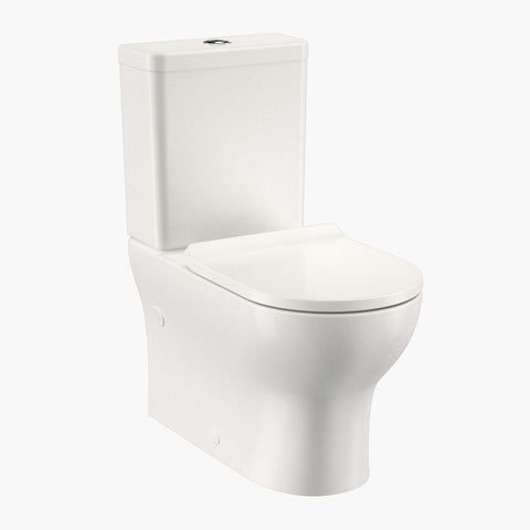 Round Back To Wall Toilet Suite - Back Entry (Slimline Seat)