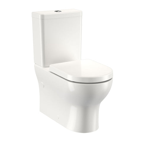 Round Back To Wall Toilet Suite - Bottom Inlet (High Profile Seat)