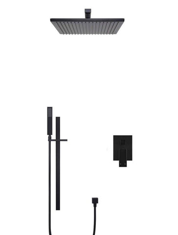 Square Wall Mounted Shower, Column And Diverter Mixer