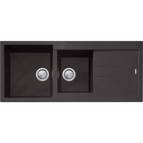 Santorini Black 1 & 3/4 Bowl Topmount Sink With Drainer