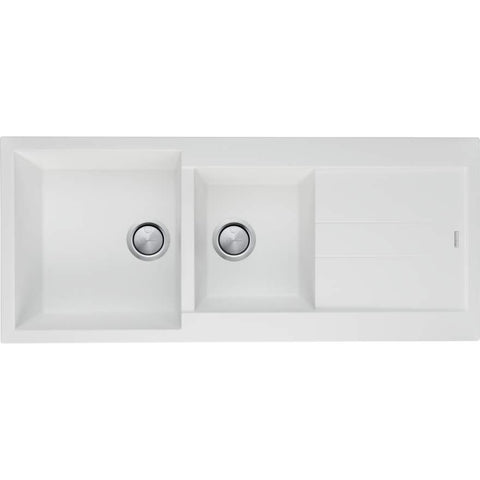 Santorini White 1 & 3/4 Bowl Topmount Sink With Drainer