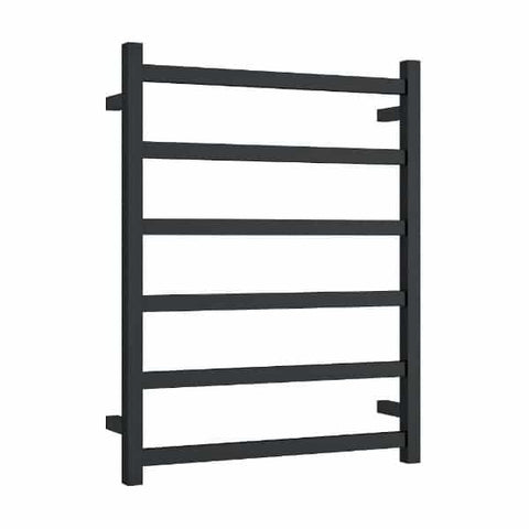Matt Black Straight Square Ladder Heated Towel Rail