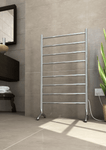 FS66E Straight Round Free-Standing Heated Towel Rail