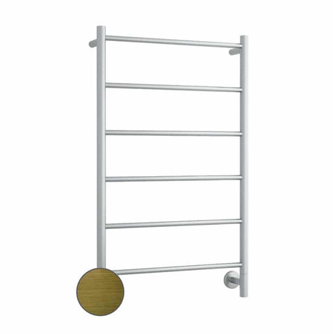 S60SAB Antique Brass Straight Round Ladder Heated Towel Rail