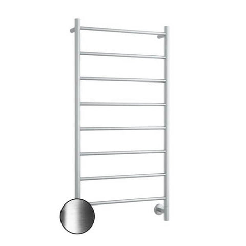 S62SBN Brushed Nickel Straight Round Ladder Heated Towel Rail