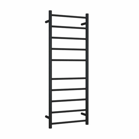 Matt Black Straight Round Ladder Heated Towel Rail