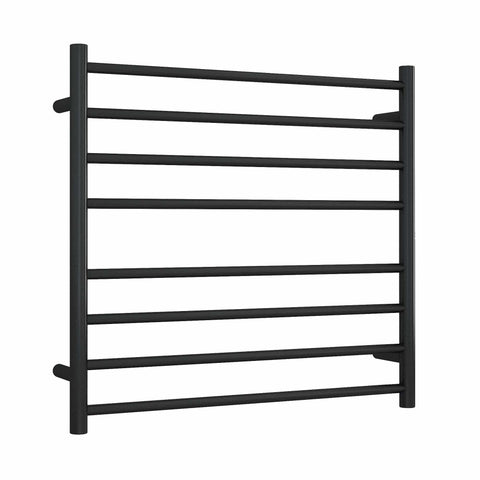 SR33MB Matt Black Straight Round Ladder Heated Towel Rail
