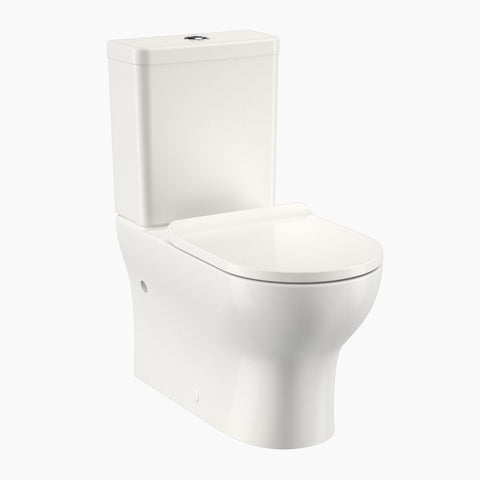 Round Back To Wall Toilet Suite - Bottom Inlet (Slimline Seat)