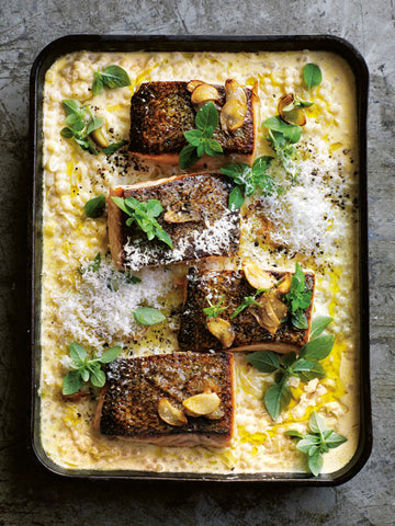 Baked salmon with creamy israeli couscous