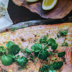 Brined salmon fillet with herb yoghurt sauce