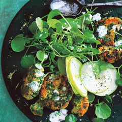 couscous salmon cakes with apple salad