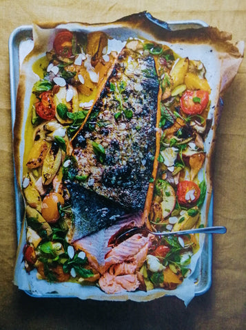 Grilled salmon with warm stonefruit salad