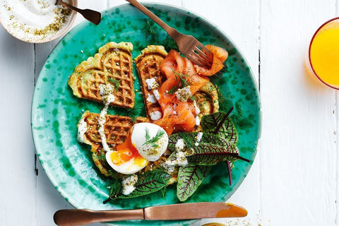 haloumi and zucchini waffles with gravadlax