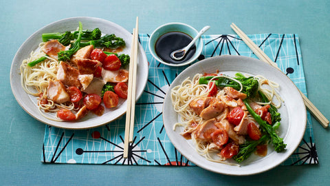 hoisin salmon with broccoli and noodles