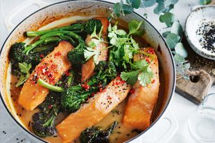 Honey miso baked salmon with broccolini