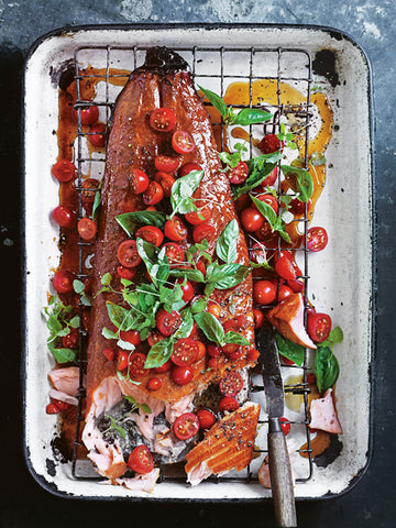 Honey smoked salmon with pickled tomatoes