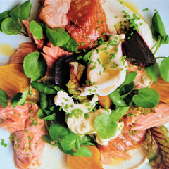 Hot smoked salmon with roast beetroot and horseradish dressing