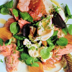 hot smoked salmon with roasted beetroot
