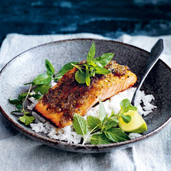 Lemongrass salmon with coconut rice