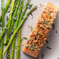 Mustard crusted salmon with asparagus and tarragon