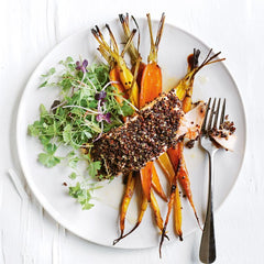 Quinoa crusted salmon with glazed carrots