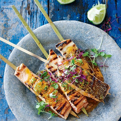Salmon skewers with chilli lime butter