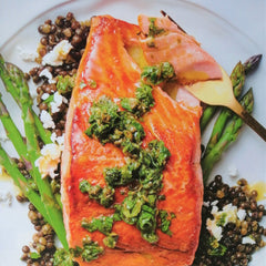 Salmon with asparagus, lentils and salsa verde