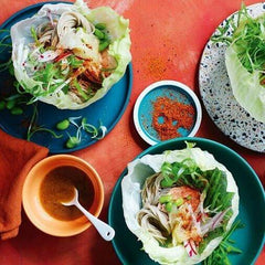 smoked salmon and soba lettuce cups