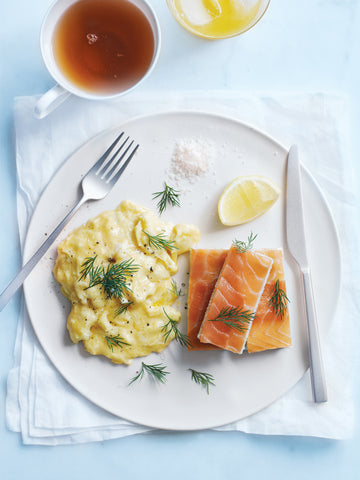 Smoked salmon fingers with scrambled eggs