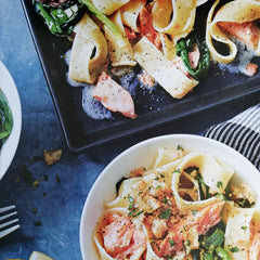 Smoked salmon tagliatelle with lemon pangratatto