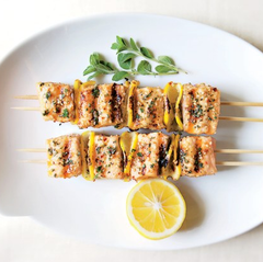 Spiced salmon kebabs